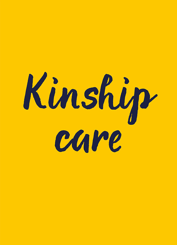 Word kinship care on a yellow background.