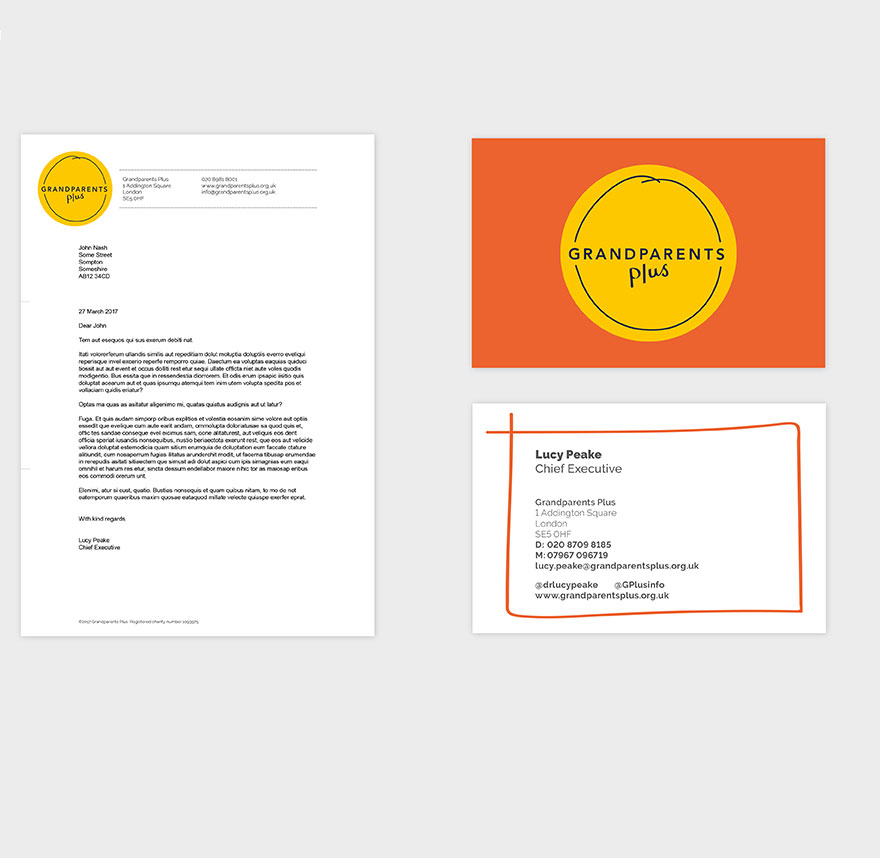 Branded letterhead and business card.