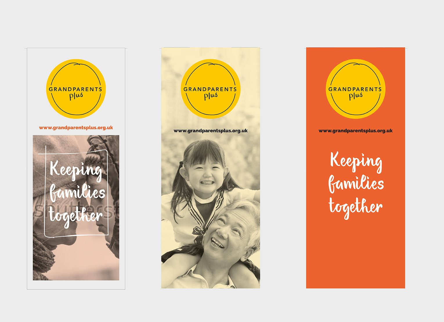 Branded pull up banners with grandparents with grand children.
