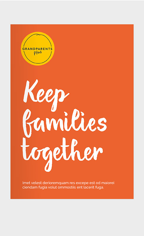 Keep families together report cover in orange.