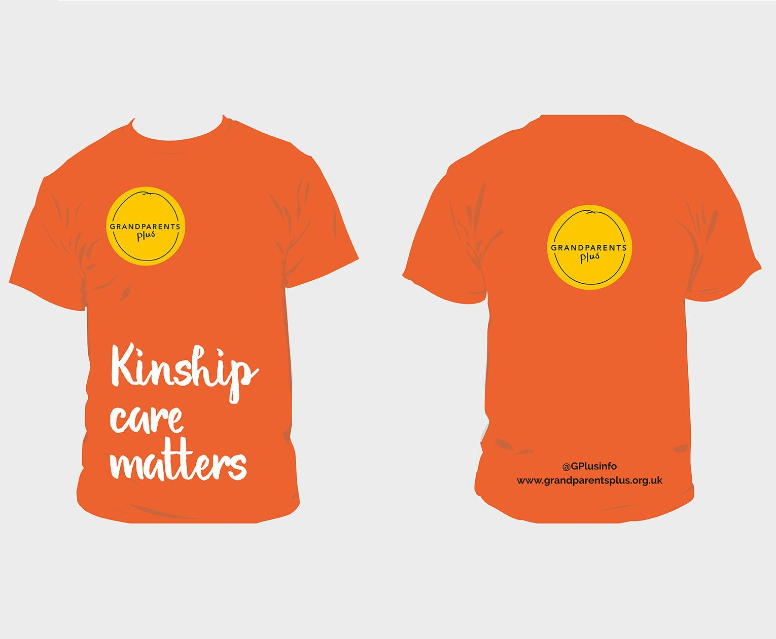Orange T-shirt with kinship care matters message and Grandparents Plus logo.
