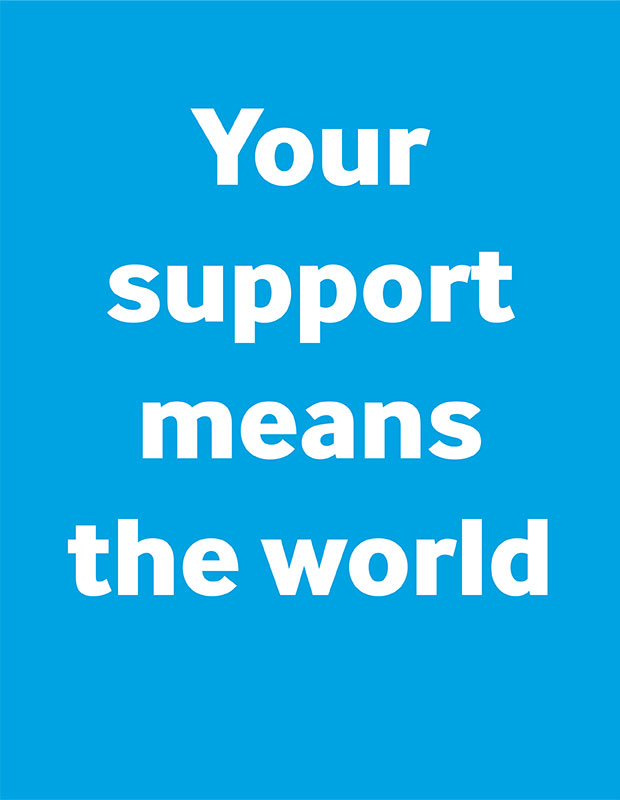 Text your support means the world against a blue background.