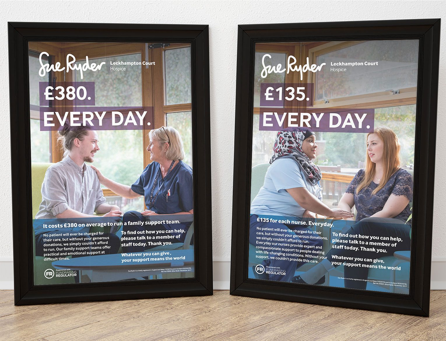 Two posters in black frames informing how much a Sue Ryder hospice needs for nurses and support.