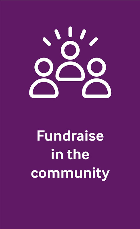 Icon of three figures representing fundraise in the community.