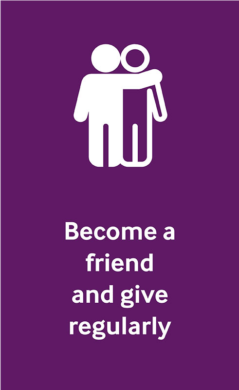 Icon of two figures hugging representing become a friend of Sue Ryder.