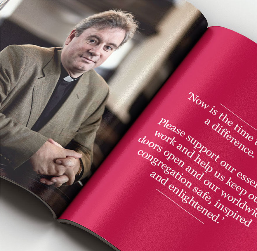 Spread from the case for support brochure featuring the vicar.