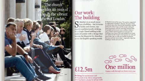 Another spread from the brochure showing people sitting on the steps and text.