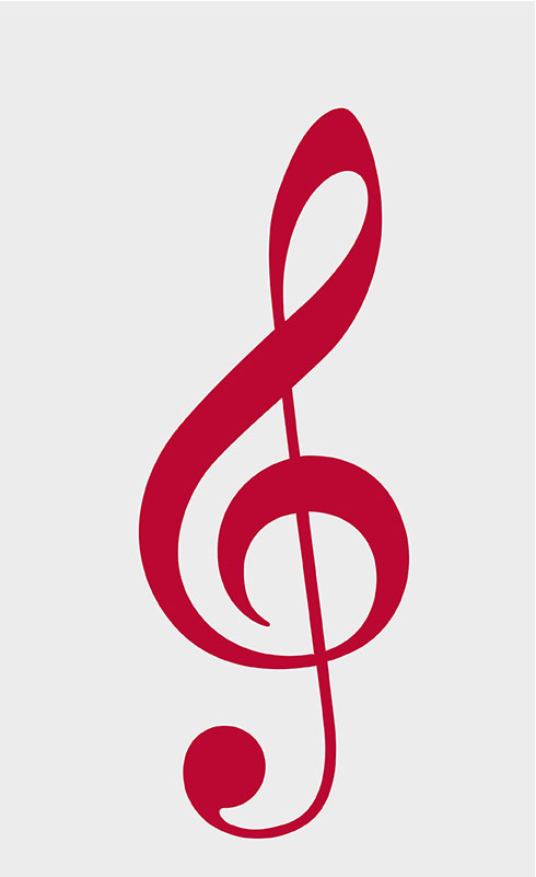 Red musical symbol clef.
