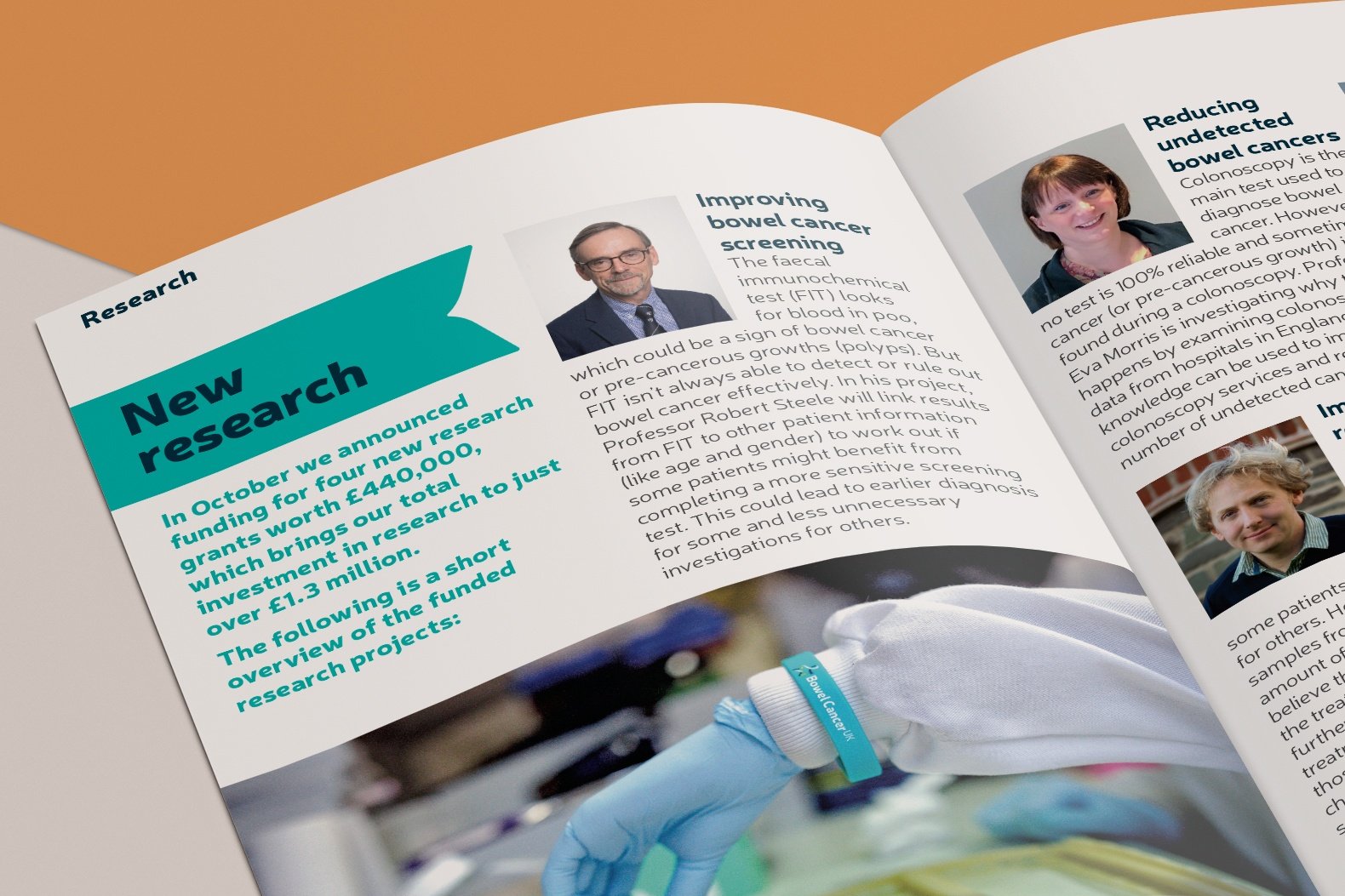 A spread from the magazine with a feature on New Research