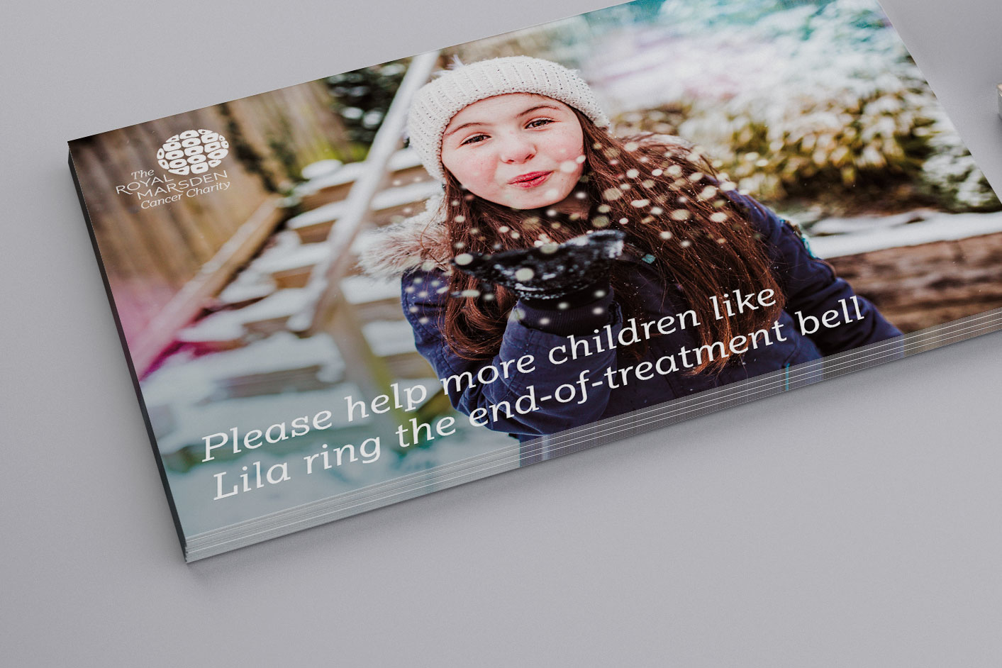 "Image of the outer envelope with the message ""Please help more children like Lila ring the end-of-treatment bell"""