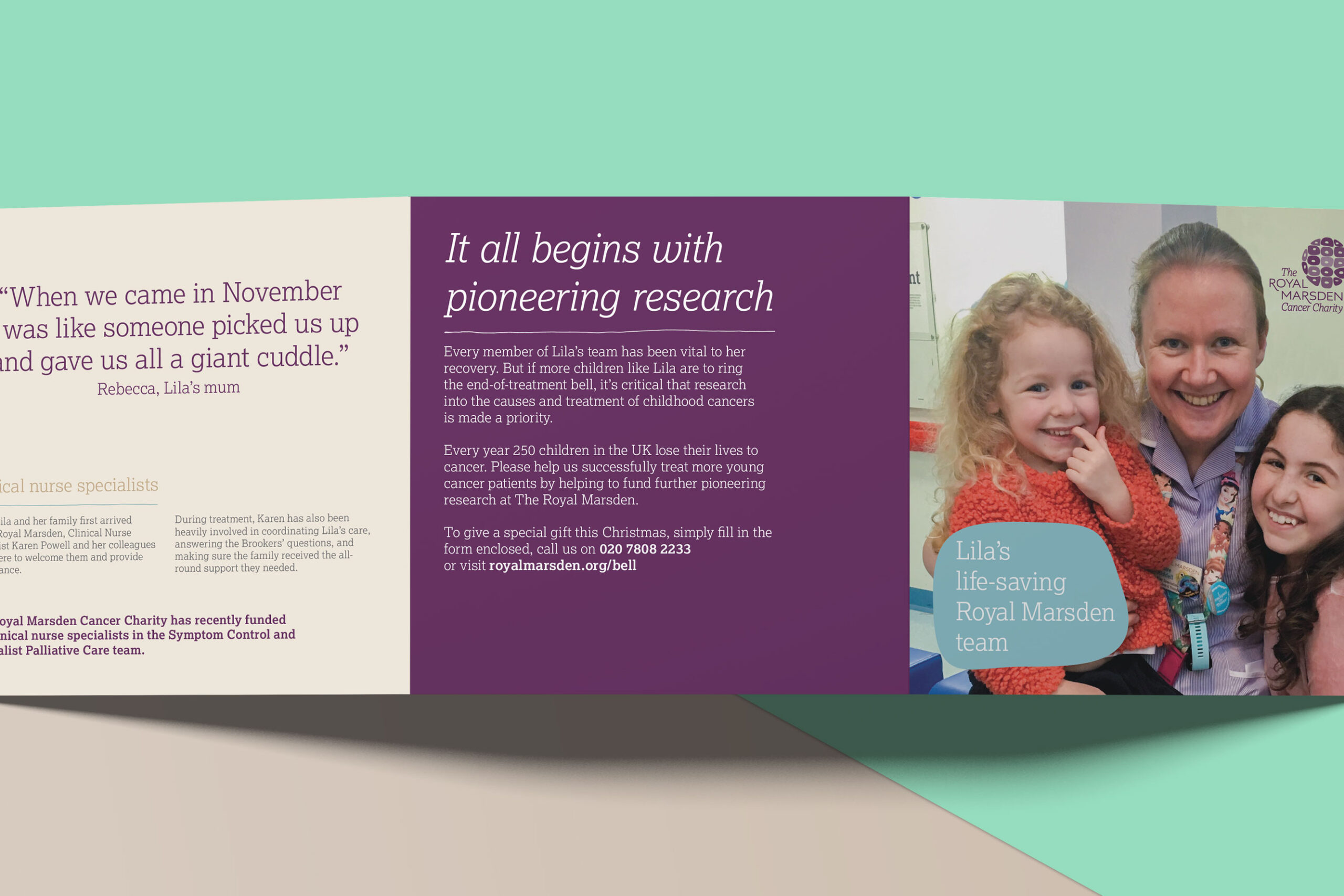 "The back of the insert with a large message saying ""It all begins with pioneering research"""