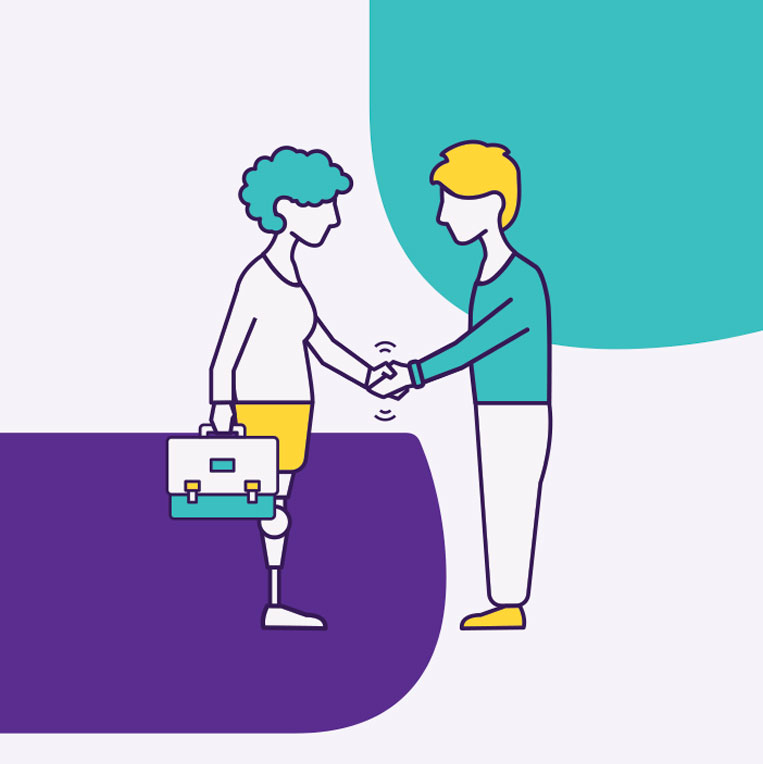 Bright and friendly illustration showing a disabled person with a briefcase shaking hands with someone else