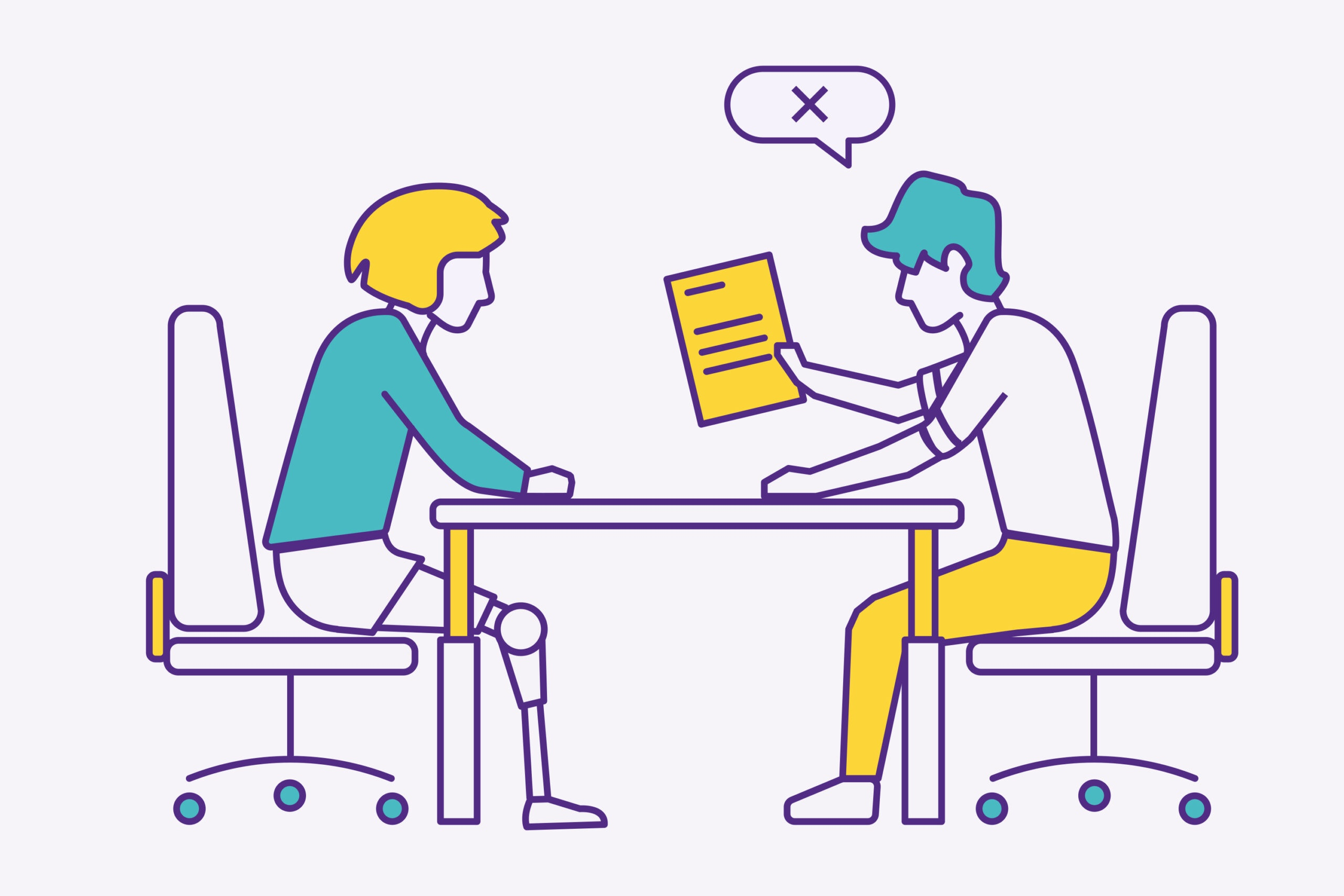 Illustration showing discrimination against disabled people