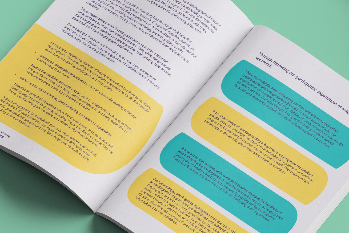 A spread from the report showing bright and colourful elements and simple layout