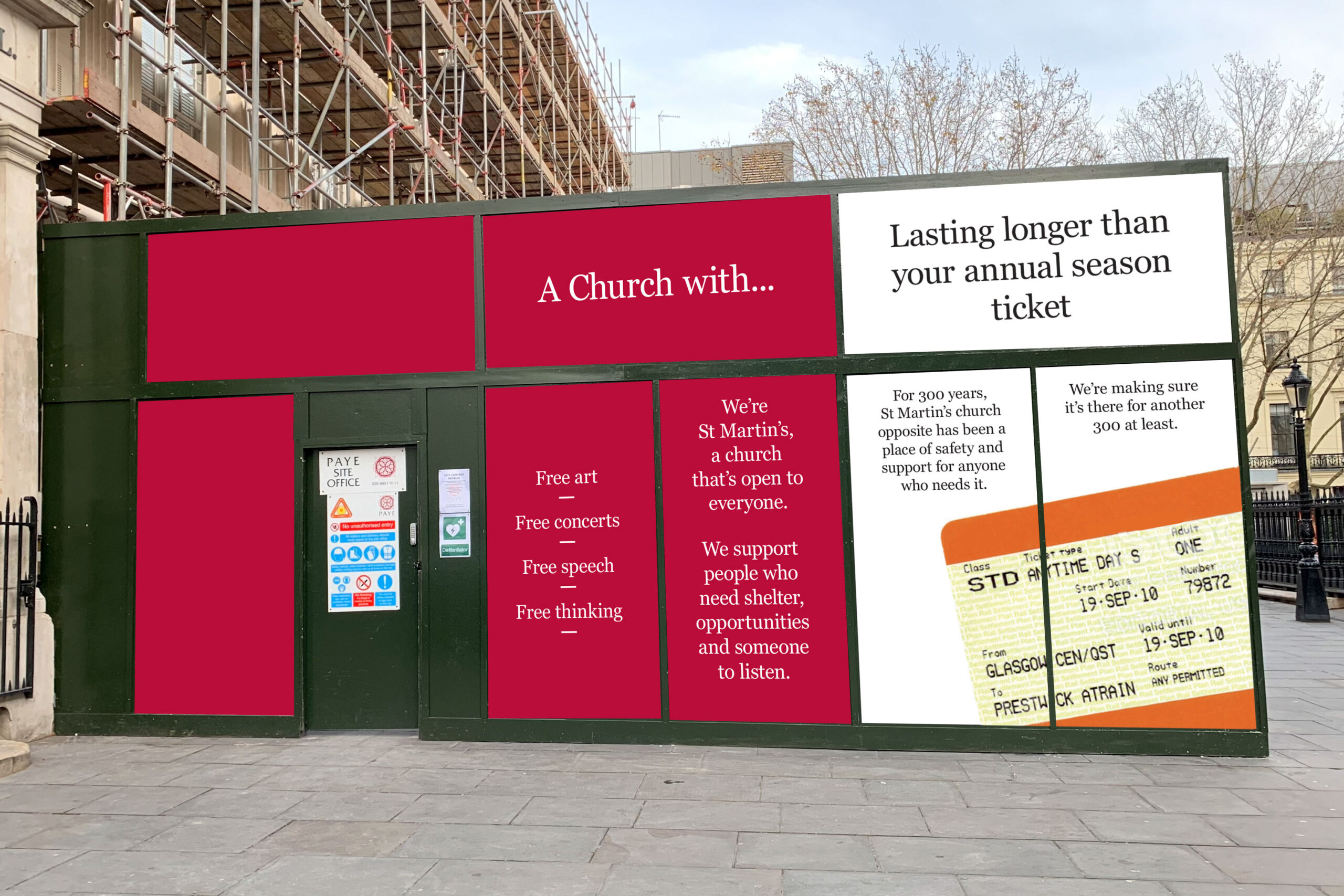 Building Futures brand applied to hoardings.