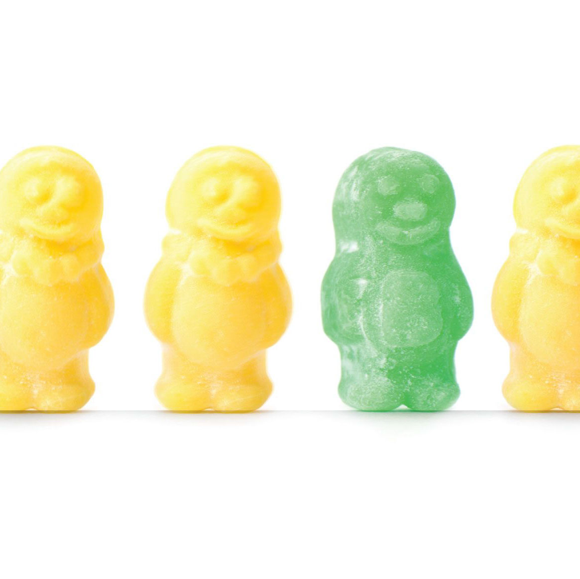 Image of a row of jelly babies, showing the new brand colours for St John Ambulance
